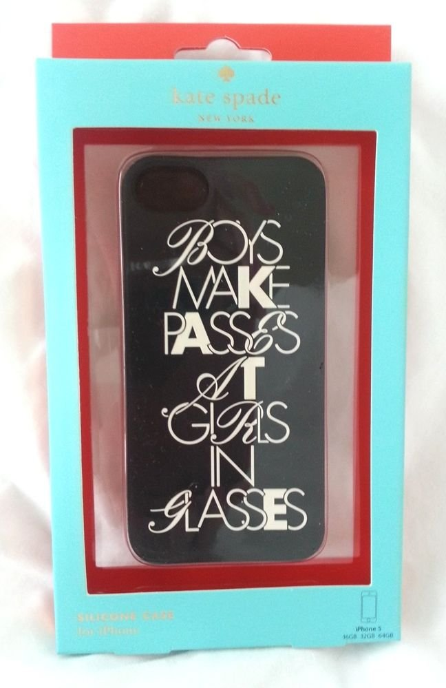 Kate Spade New York Boys Make Passes at Girls Glasses Silicone iPhone 5 case-NIB