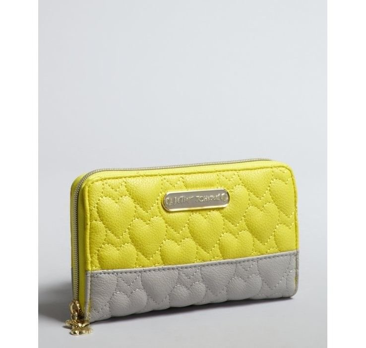 BETSEY JOHNSON WALLET BE MY ONE AND ONLY ZIP AROUND IN YELLOW/GREY-NWT-SRP:$68