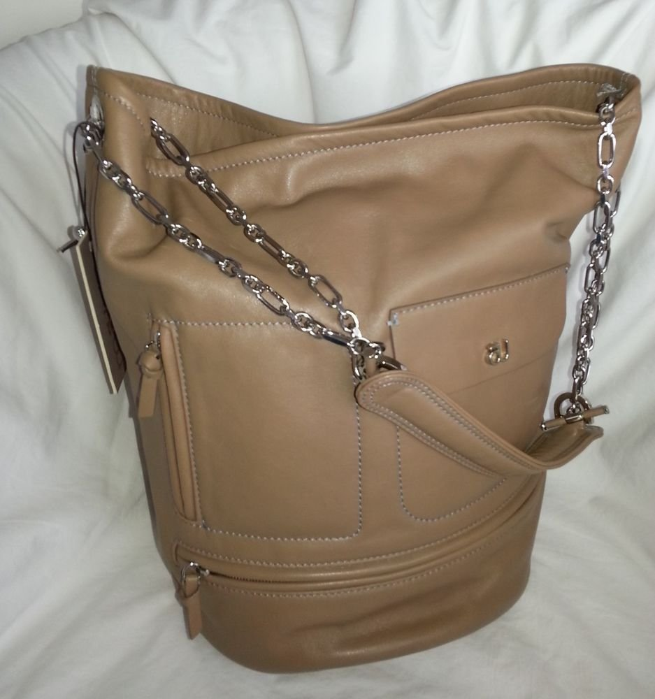 MAUVE AU  Neptune Leather Bucket Shoulder Bag in Taupe - NWT