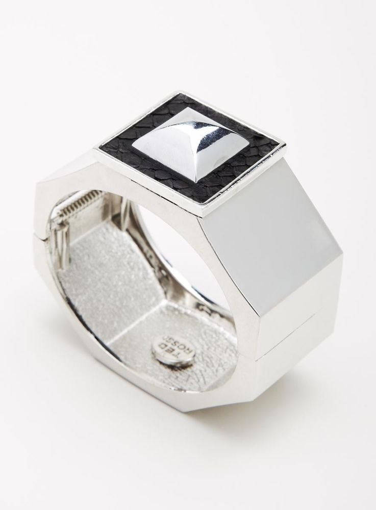 Ted Rossi NYC Silver Heavy Metal Pyramid Icon Cuff Bracelet-NEW-SRP:$185.00