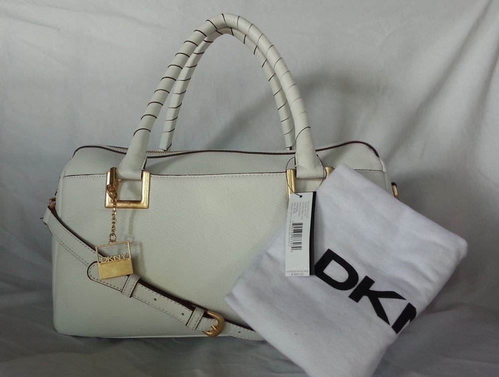 DKNY DONNA KARAN LEATHER CROSBY WOVEN HANDLE BOWLER  BAG IN WHITE-NWT-MSRP $365