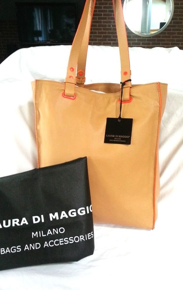 LAURA DI MAGGIO LEATHER NEON POP TOTE BAG IN CARAMEL & ORANGE-NWT-MADE IN ITALY