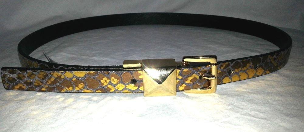 Michael Kors Leather Reversible Metallic Gold Snake Print belt S, XS-NWT-SRP:$48