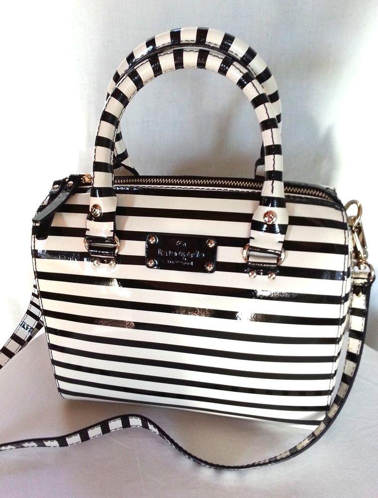 Kate Spade Handbag NEW  Wellesley Patent Stripe Alessa Satchel Handbag NWT $378