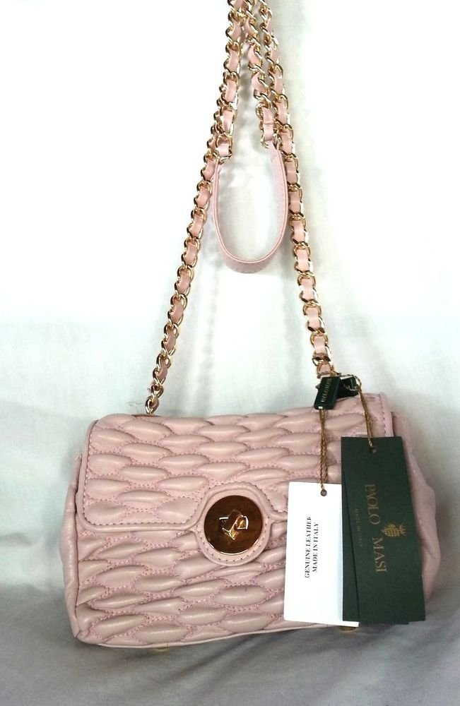 Paolo Masi Quilted Leather Crossbody/Shoulder Bag Pale Rose-NWT-Made in Italy