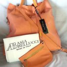 ASIA BELLUCCI Made in Italy Slouchy Leather Tote Bag Apricot/Yellow-NWT-SRP:$395