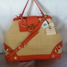 EMMA FOX Newport Frame Satchel Shoulder Bag in Natural/Tangerine-NWT-SRP:$298.00