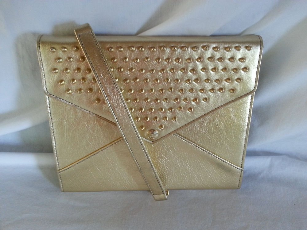 Rebecca Minkoff Spikey Studded Gold Metallic Leather iPad Case-NWT-SRP:$250