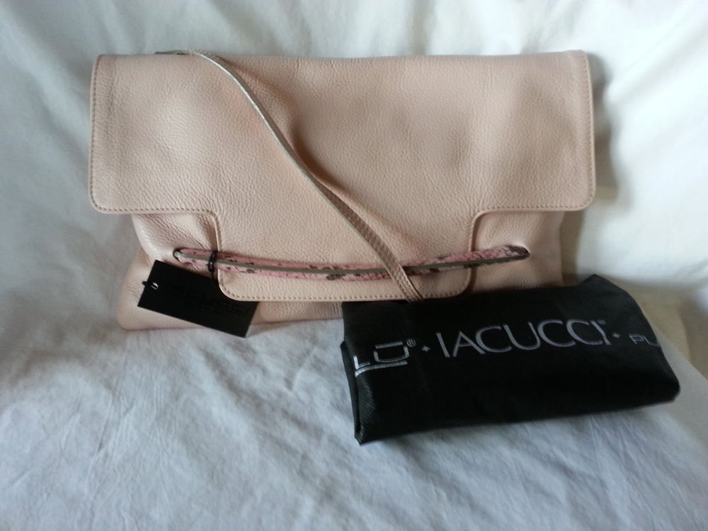 Nalu Iacucci Pebbled Leather Flap Clutch/Shoulder Bag MADE IN ITALY in Pink-NWT