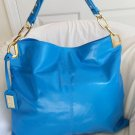 BADGLEY MISCHKA POLISHED LEATHER GAIA TOTE HOBO BAG IN TURQUOISE-NWT- SRP: $325