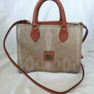 Dooney Bourke Handbags Mini Janine Snake Embossed Satchel Bag in Gold-RP: $168