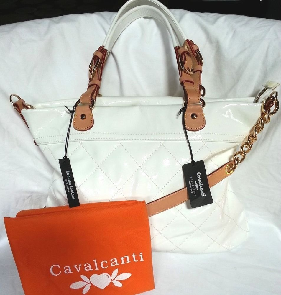 Cavalcanti Quilted Patent Leather Shoulder/Crossbody Bag in Ivory-NWT-Italy