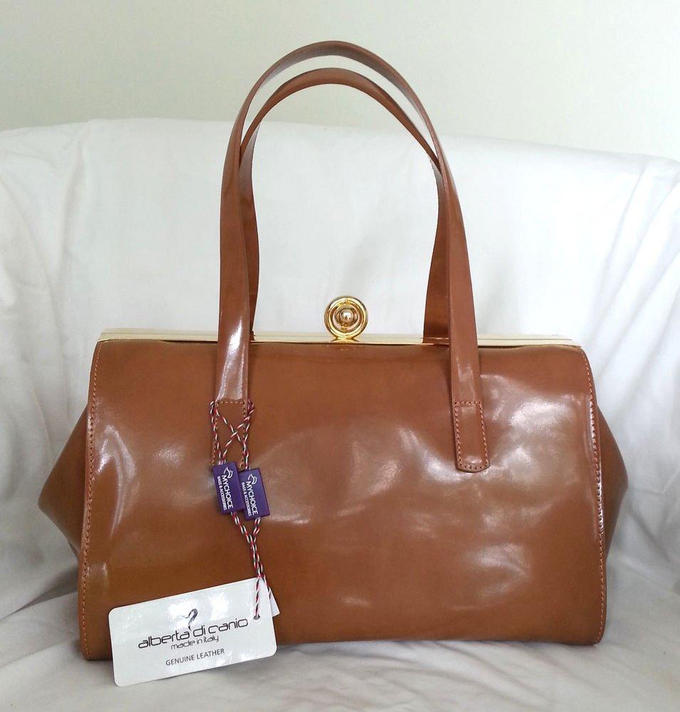 Alberta DiCanio Handbags Hinged-Frame Patent Leather Satchel Bag in Caramel-NWT
