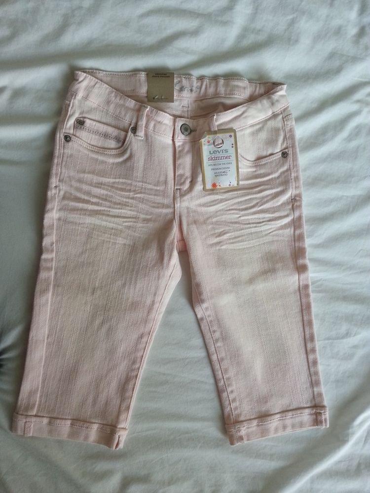 Levi's Girls Skimmer Adjustable Cropped Denim in Pink Size 14-NWT-SRP: $36