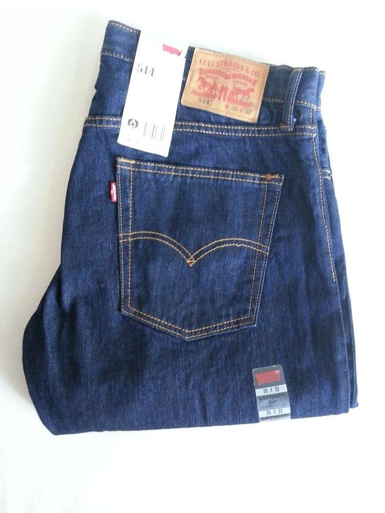 MEN'S LEVI'S 514 Slim, Straight Fit Dark Blue Jeans Sz 36 x 32 NWT - SRP $58