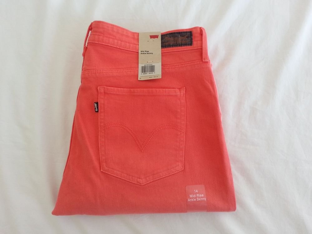 Women's Levi's Mid-Rise Ankle Slim Skinny Jean Two-Tone Pink Size 14-NWT-SRP:$54