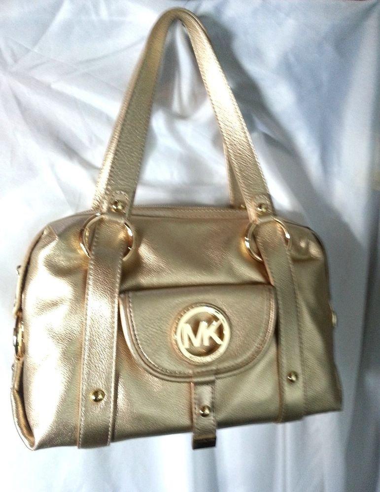 Michael Kors Leather Fulton Large Satchel Shoulder Bag in Pale Gold-NWT-SRP:$398