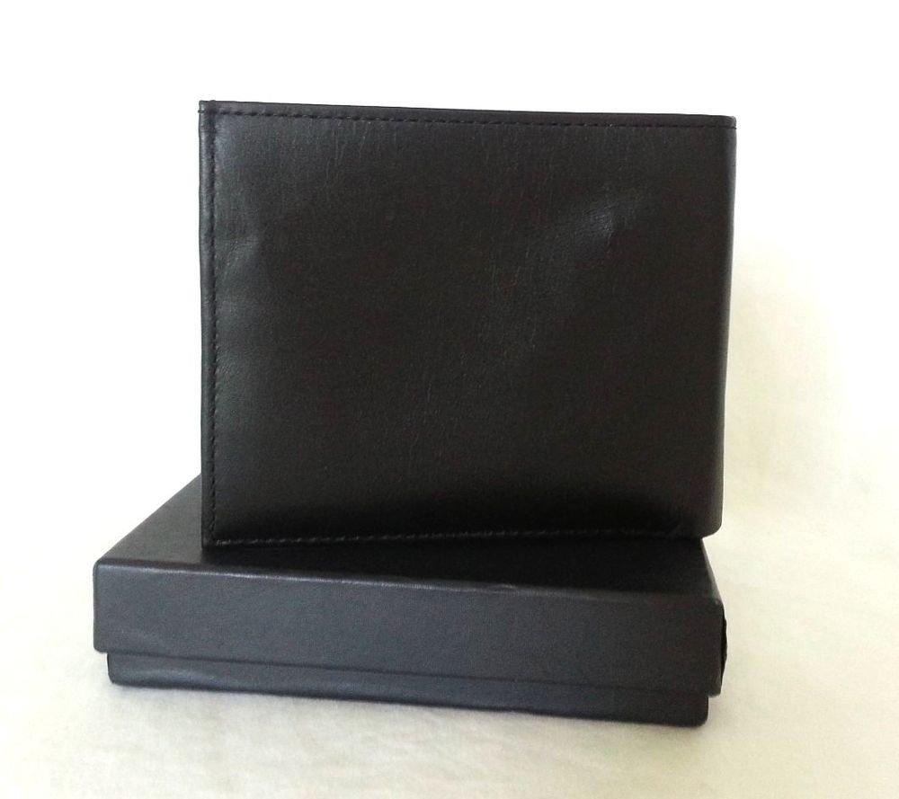 Polo Ralph Lauren Men's Soft, Flat Black Leather Wallet-NWT/Box-SRP: $120.00