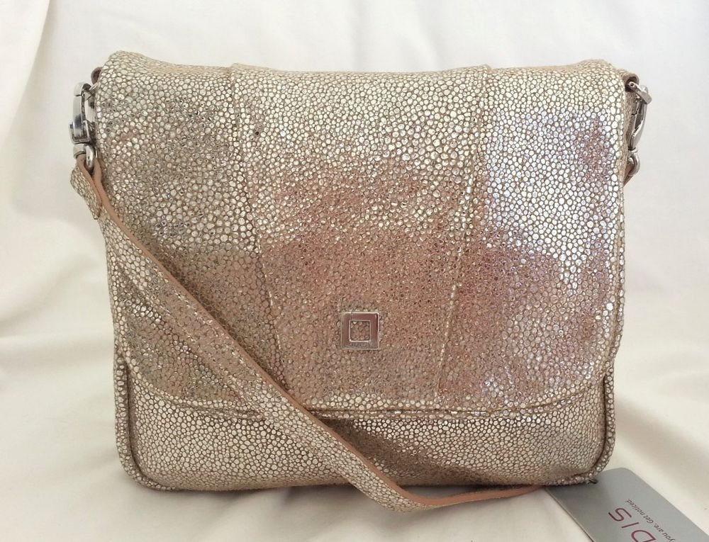 Lodis Leather Aurora Alexis Crossbody/Shoulder Bag in Almond/Silver-NWT-SRP:$148