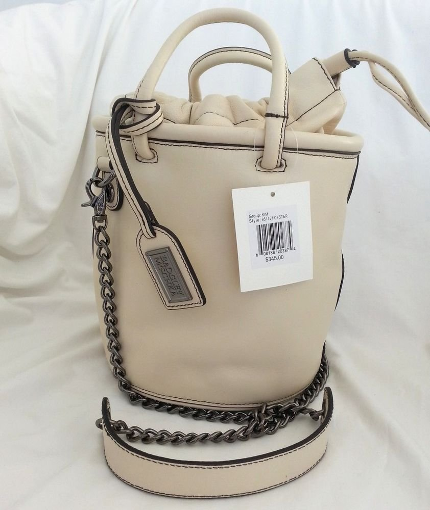 Badgley Mischka Leather Kim Bucket Bag/Crossbody Oyster or Oatmeal-NWT-RP:$345