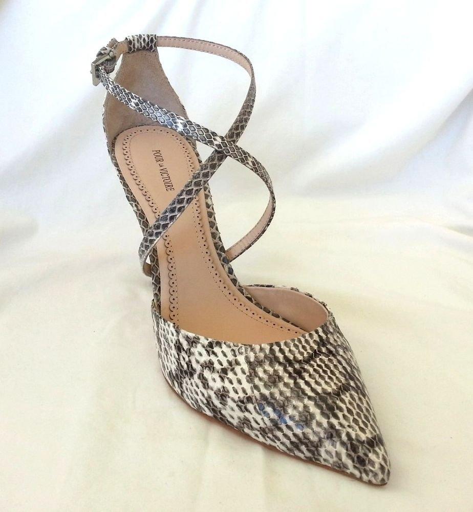 Pour La Victoire Cheyenne Leather Snake Ankle Strap Pump Sz 8, 10-NIB-RP: $235