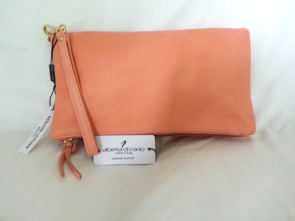 Alberta DiCanio Made in Italy Pia Foldover Clutch Bag in Salmon Pink Leather NWT