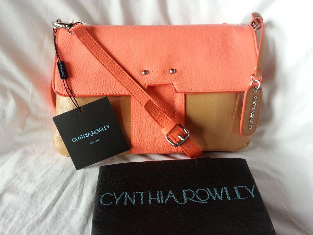 Cynthia Rowley Leather Crossbody/Clutch Bag in Caramel & Neon Orange - NWT