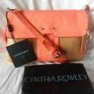 Cynthia Rowley Leather Crossbody/Clutch Bag in Caramel & Neon Orange - NWT