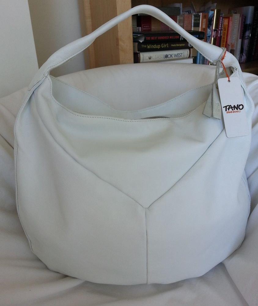 Tano Leather Forbidden Fruit Hobo Bag/Shoulder Bag Purse in White-NWT-SRP:$195