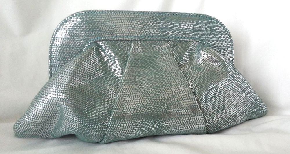 Lauren Merkin Lucy Snake Embossed Goat Suede Clutch bag in Turquoise-New-RP:$295