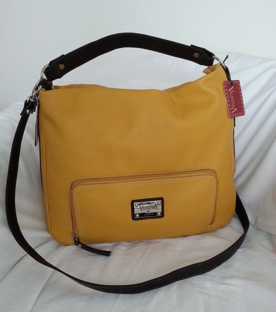 Valentina Large Pebbled Leather Convertible Hobo/Shoulder Bag Autumn Gold-NWT