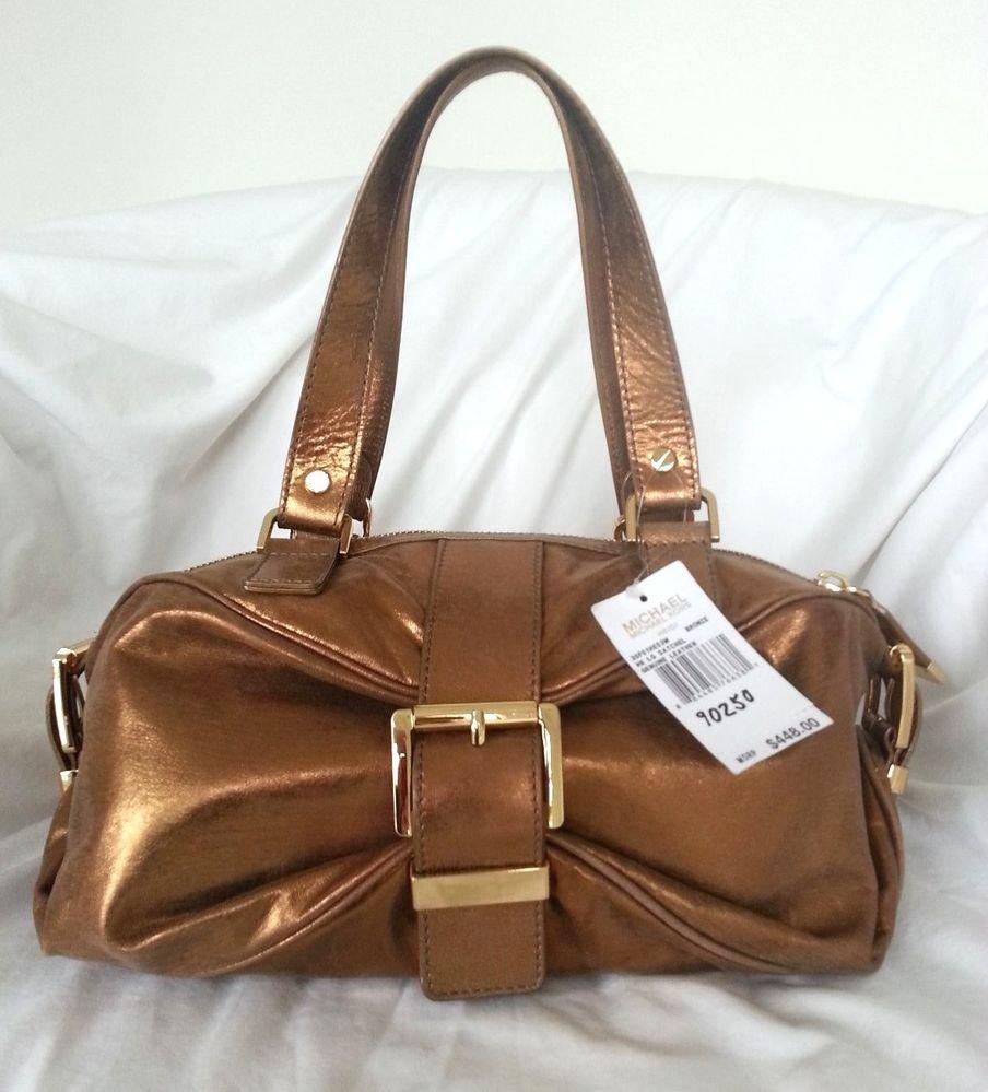 Michael Kors Leather Heidi Large Satchel Shoulder Bag in Bronze-NWT-SRP:$448