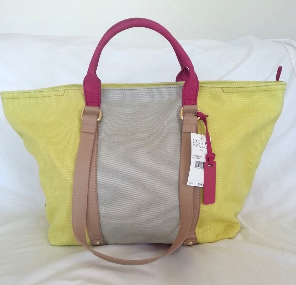 Steve Madden Canvas BCAICOSS Large Tote in Citron Yellow-NWT-SRP:$98