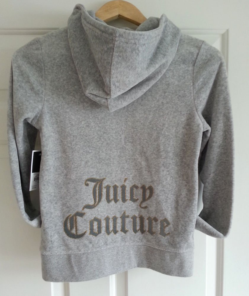 Juicy Couture Velour Zip Front Silver Lining Hoodie Grey Size S -NWT-RP: $128
