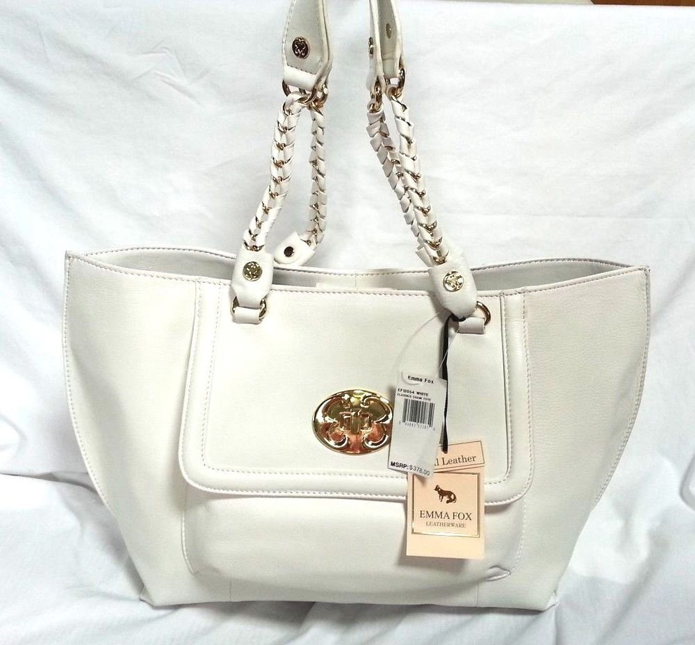 Emma Fox Classics Leather Chain Tote Shoulder Bag in White -NWT-SRP:$378.00