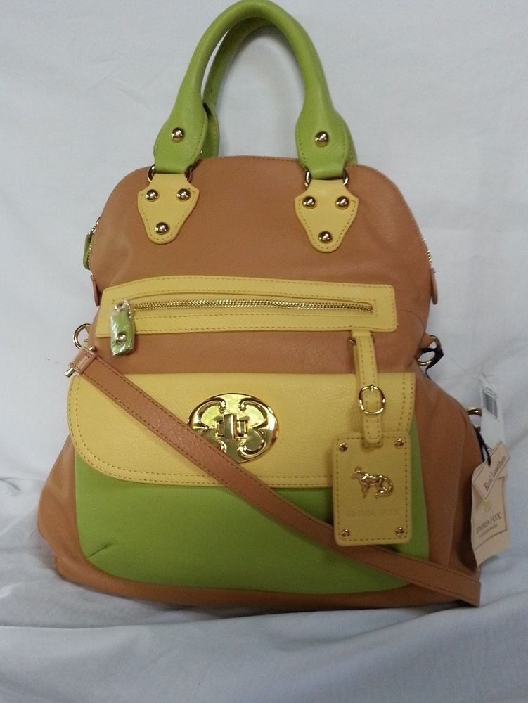 EMMA FOX Leather Classics Tote/Crossbody Bag in Tan & Multi Citrus-NWT-RP:$298