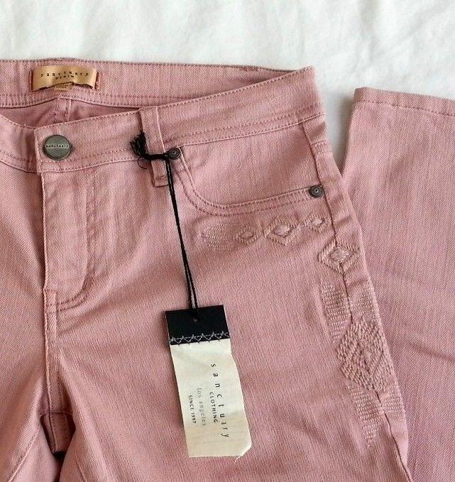 SANCTUARY Denim Embellished Skinny legging Jeans in Pink Rose Size 28 RP$147