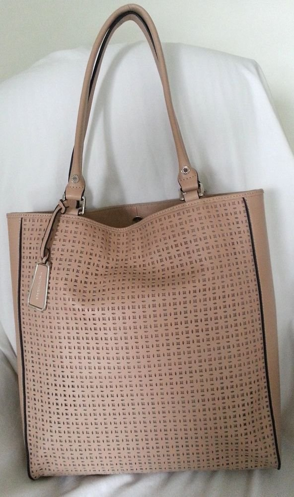 BCBG Maxazria Cut Out Leather Tote Shoulder Bag in Parfait