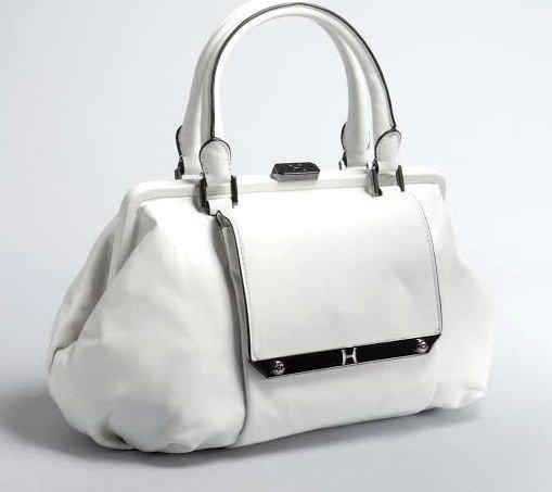 Halston Heritage Leather Framed Satchel Bag/Handbag in White