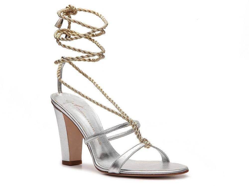 Giuseppe Zanotti Metallic Silver Gold Leather Rope Sandal Sz 8-