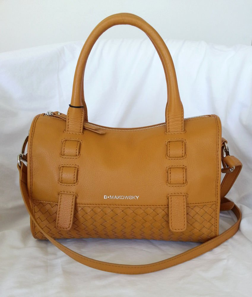 B. Makowsky Handbag Woven Leather Satchel/Crossbody Bag in Nutmeg-NWT-RP: $288
