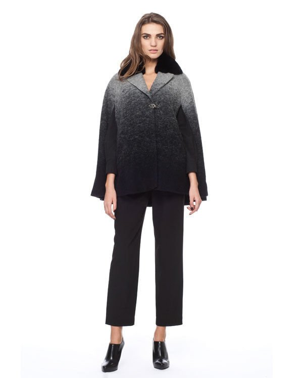 Badgley Mischka Leigh Rabbit Fur Collar Cape in Ombre Size L/XL-RP: $675.00