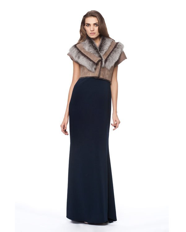Badgley Mischka Cara Genuine Shearling/Suede Shrug in Taupe-NWT-RP: $995.00