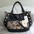 Emma Fox Classic Leather Studded Satchel Handbag in Black/Python-NWT-SRP:$298.00