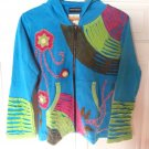 Women's Handmade in Nepal Hooded Jacket in Sea Green Embroidered & Appliqued-NWT