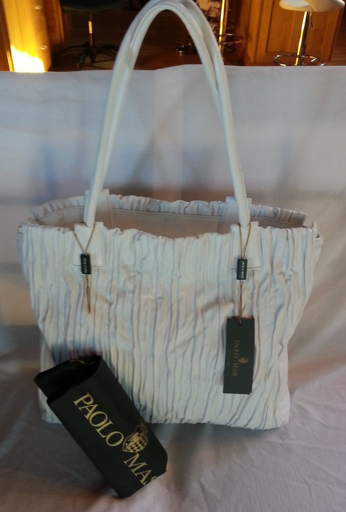 Paolo Masi 'Plisse' Pleated Nappa Leather Tote Shoulder Bag White-NWT-SRP: $595