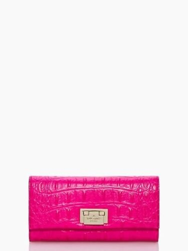 Kate Spade New York Cyndy Croc Embossed Leather Wallet in Pink or Green