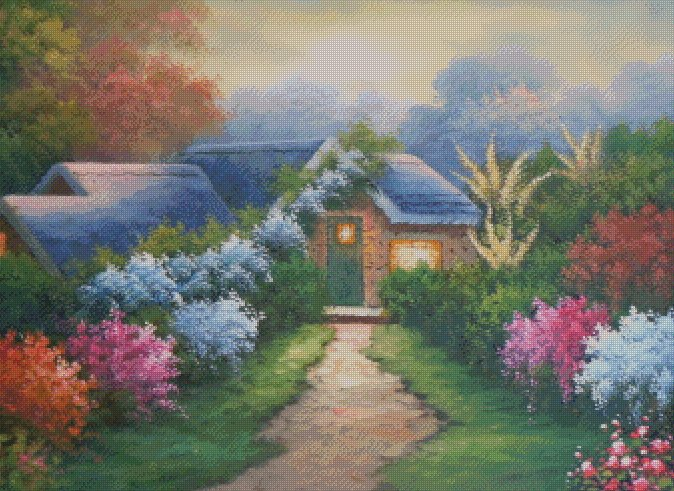 Country Cottage Counted Cross Stitch - Aida 14 Count