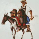 Peru Man Riding Donkey Counted Cross Stitch - Aida 14