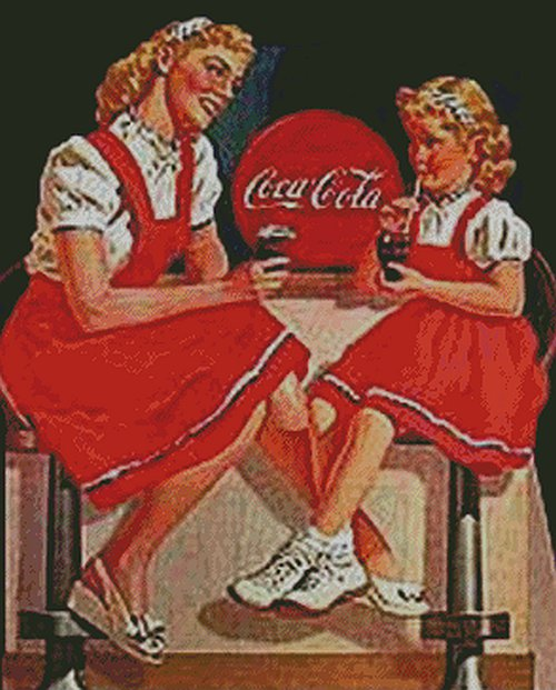 Girls Drinking Coca Cola Counted Cross Stitch - Aida 14 Count
